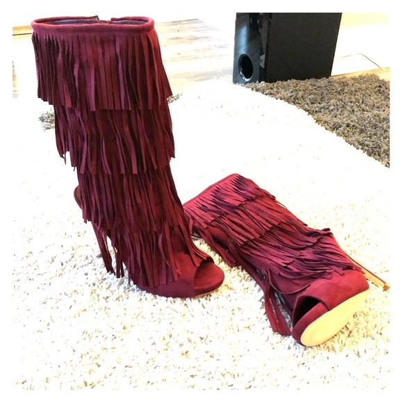 Shoes - Fringe ankle heels